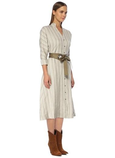 NetWork Kadın 1072938 V Yaka Çizgili Midi Keten Elbise Bej